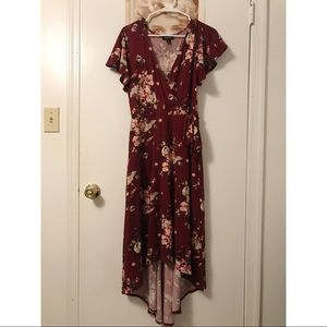 maroon floral high-low dress •